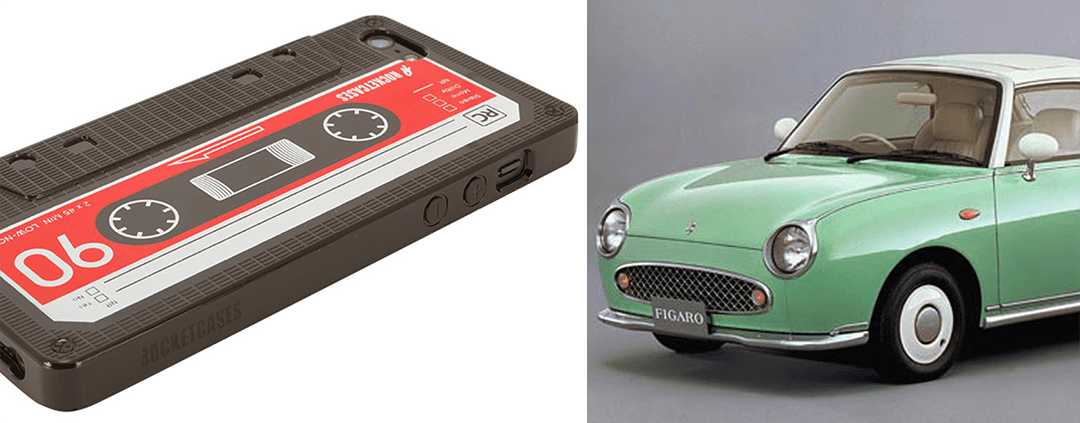 Retro cassette tape mobile phone cover and the Nissan Figaro