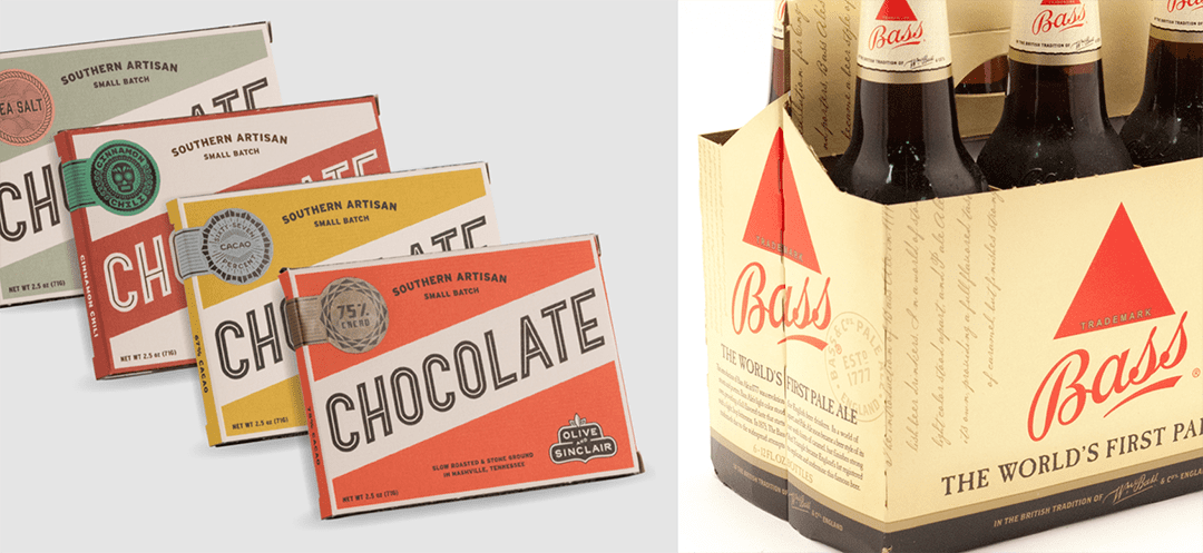 The modern vintage O&S Chocolate (founded 2007) and one of the oldest brands in the world; Bass