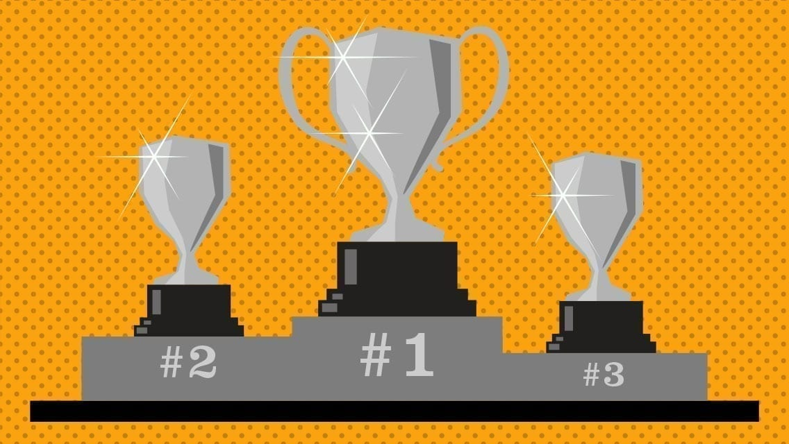 A bold orange illustration of three trophies on a podium. One for each, 1st, 2nd and 3rd.