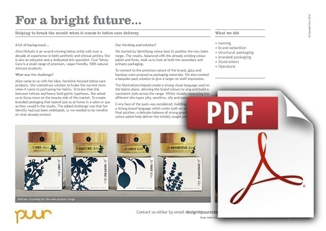 The graphic link to Puur's original pdf Case Study of Four Tattoo Care by Alice Nicholls