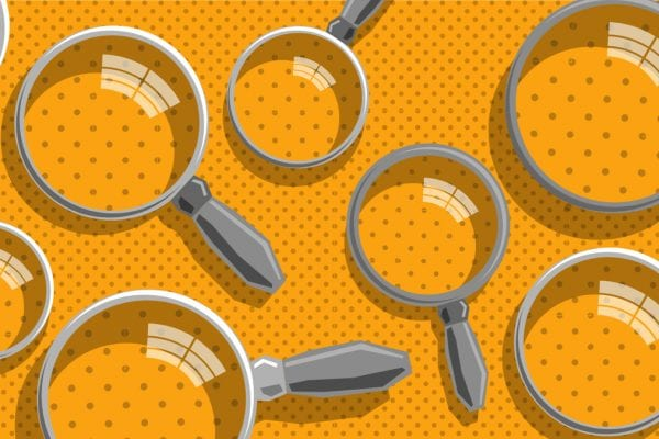 SEO explained image showing a bunch of magnifying glasses searching